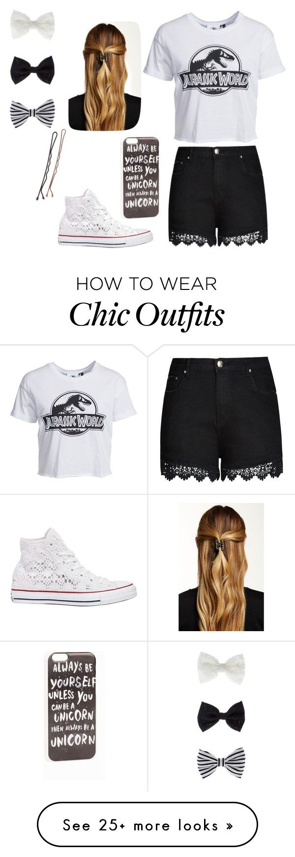 """""""Spring me # black and white"""" by camillathebest on Polyvore featuring City Chic, New Look, Converse, JFR, Natasha Accessories and Accessorize"""