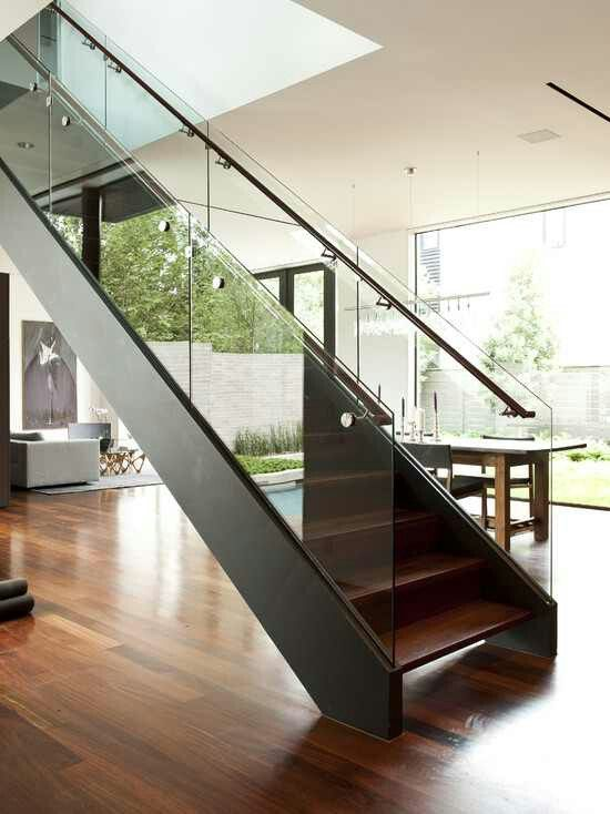 Pin By Tish On Stairs Modern Staircase Modern Stairs Stairs Design | Stairs In Middle Of Room Interior Design | 3 Story Staircase | House | Middle Hallway | Private Home | Mixed Interior