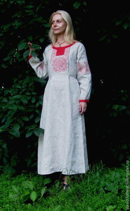 Платья ручной работы. славянское льняное платье