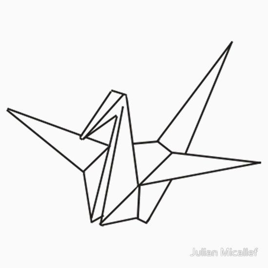 origami crane coloring pages   9 origami Crane Outline   Coloring Pages in 2019   Crane ...