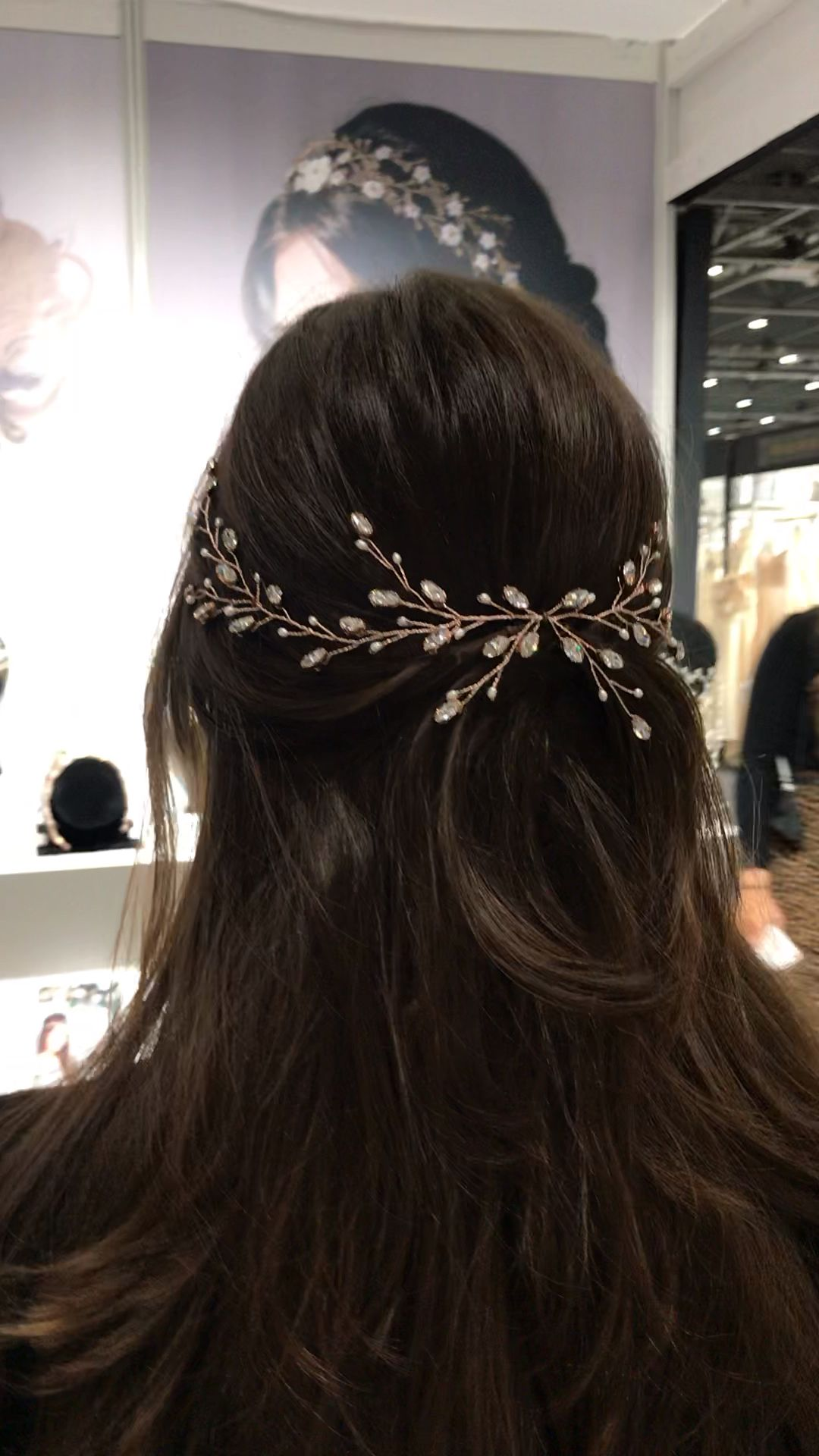 Rose gold Swarovski Crystal and pearl hair vine – Peinados facile