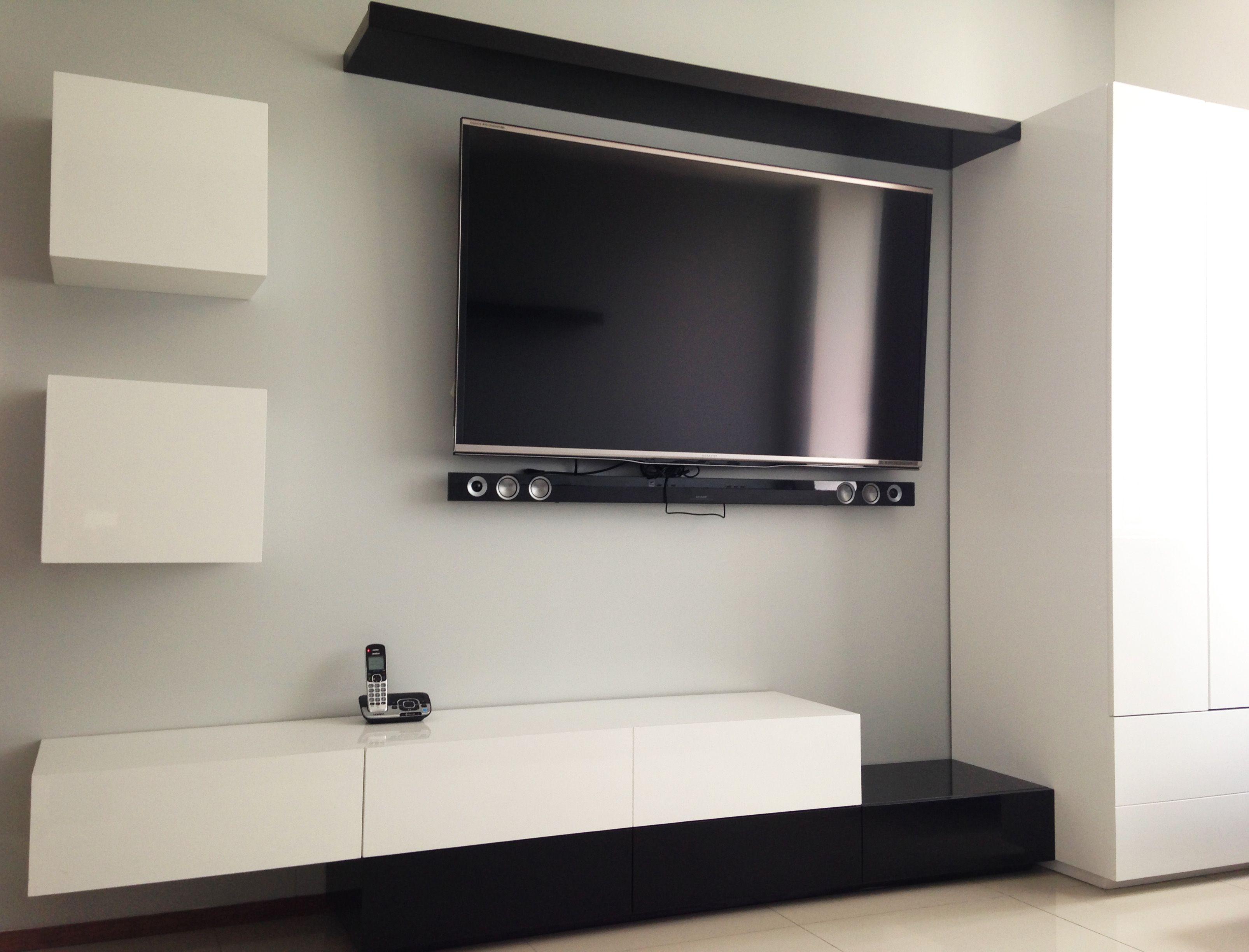 Mueble para sala de TV, en blanco y negro al alto brillo | Mi ...