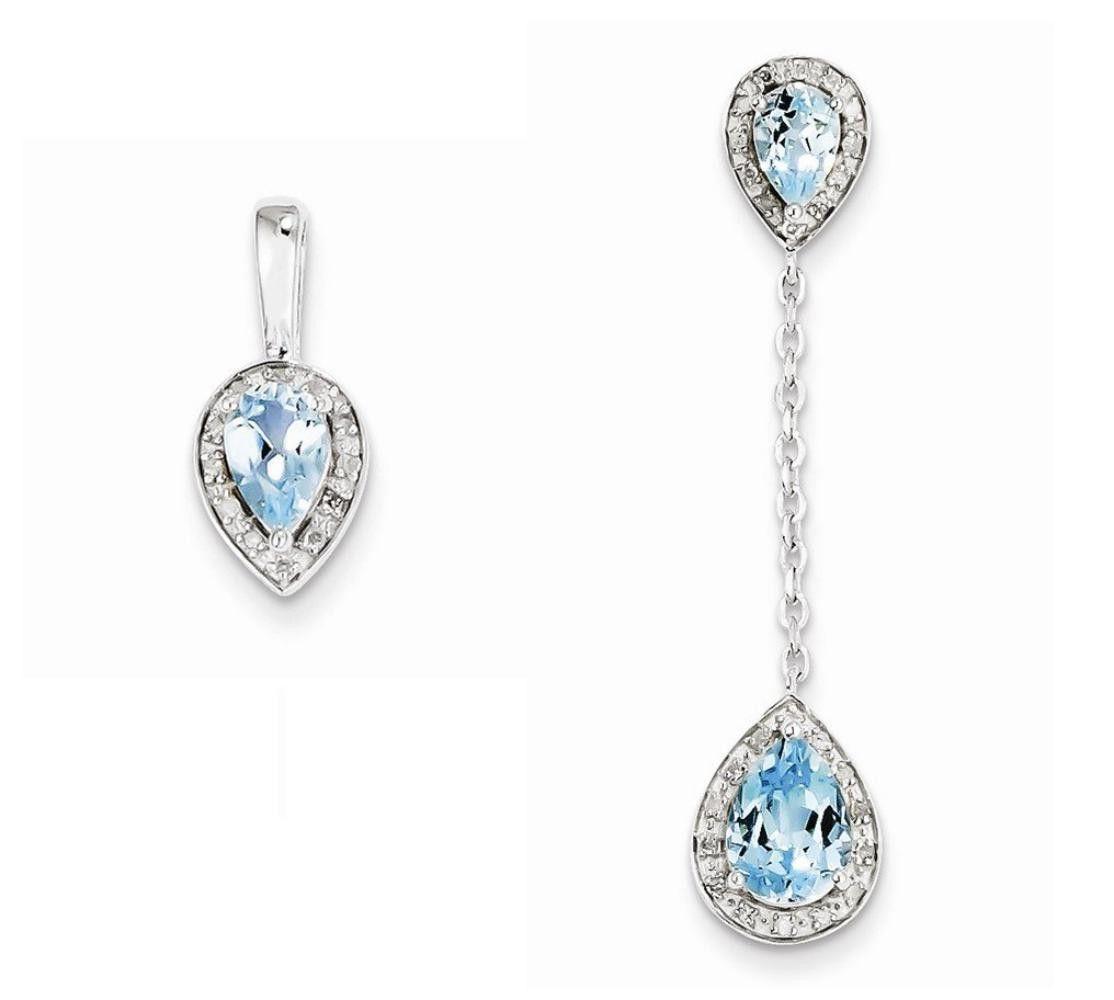 Sterling silver diamond light swiss blue pear shaped pendant set