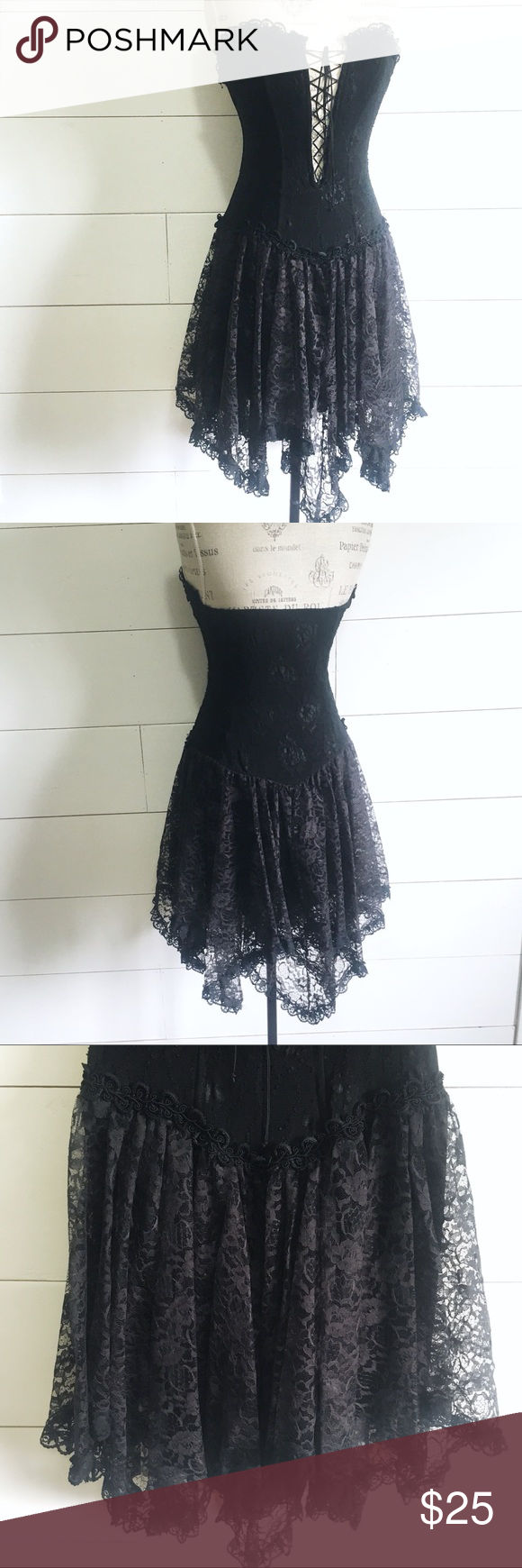 Strapless lace handkerchief hem dress