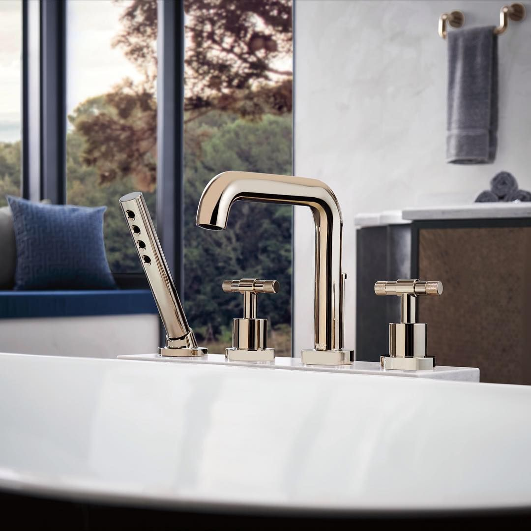 T Lever Handles Industrial Brizo Tub Litze Collection Filler Tubfiller Bathtub Bathroom Masterbath Faucets Roman Tub Tub Filler Roman Tub Faucets