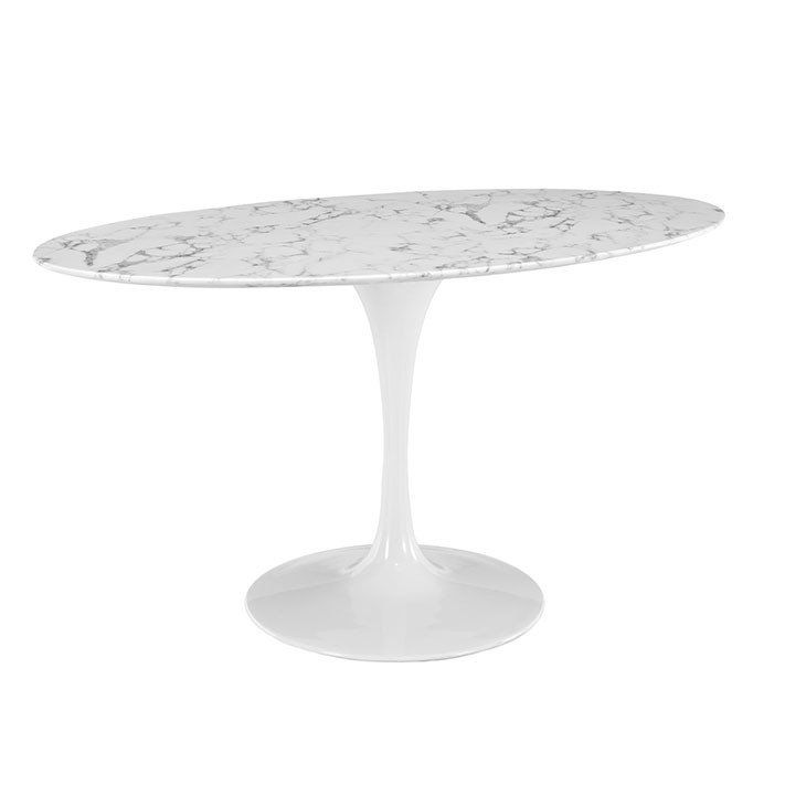 Round Or Oval Saarinen Style White Faux Marble Dining Tulip Table - Tulip table sizes