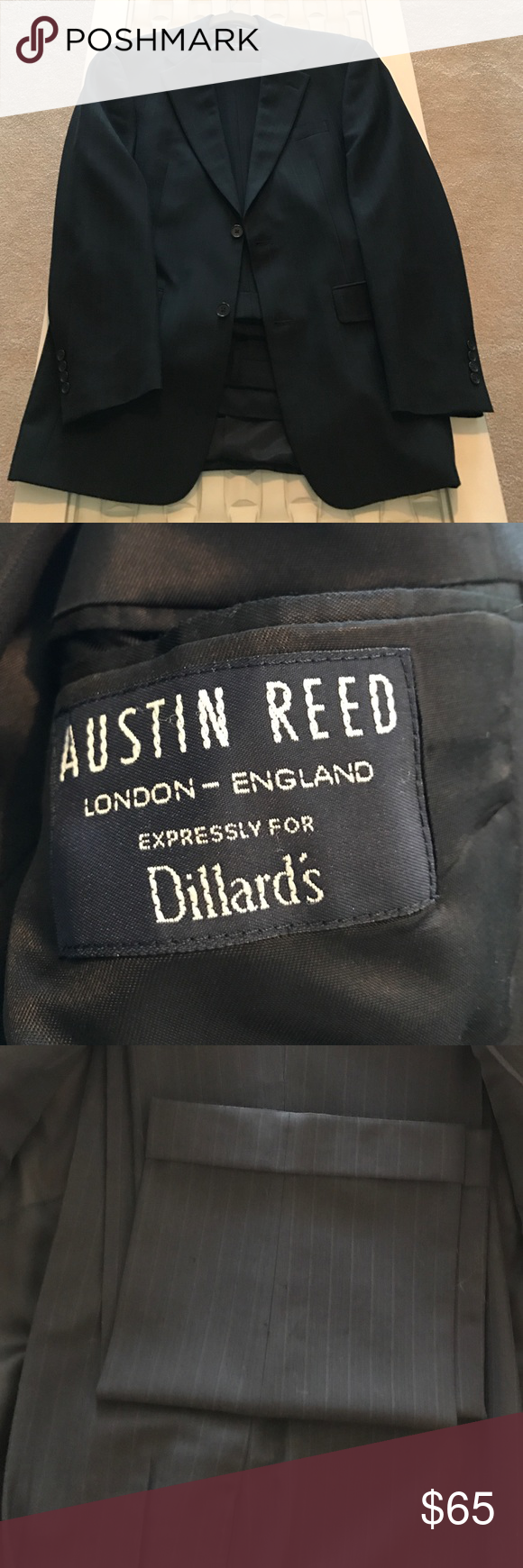 Austin Reed Pant Suit Austin Reed Black Pin Strip Suit Jacket Is A 38 Regular There S No Tag On The Pants But Know They Are A 32x Pantsuit Austin Reed Pants
