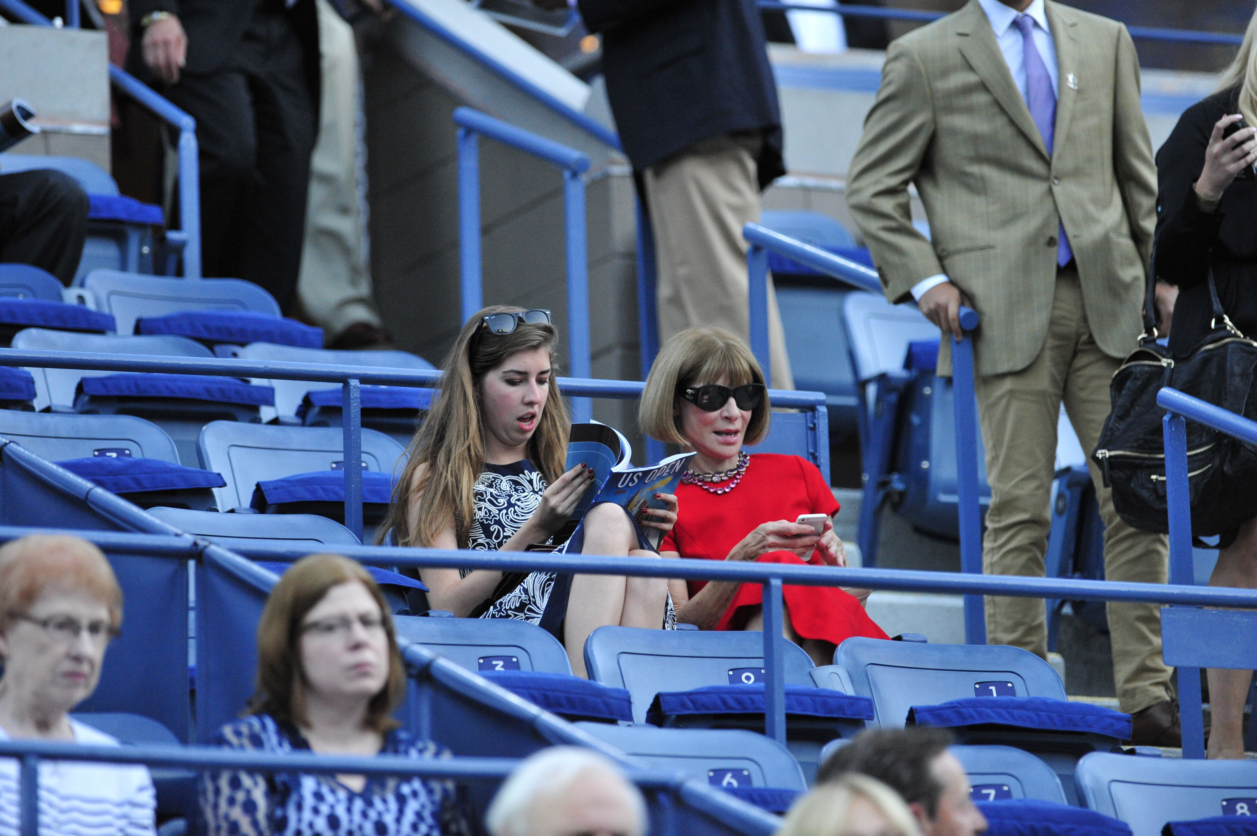 Anna Wintour at Arthur Ashe Stadium during the Opening Ceremony.