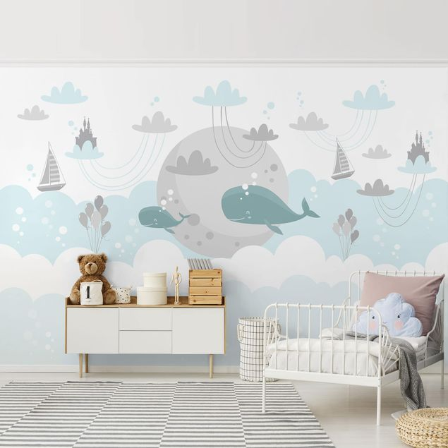 Vlies Fototapete FÜR KINDER Wale Kinderzimmer Tiere Blau