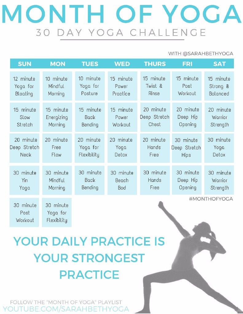The Full Month Of Yoga Calendar 30 Day Yoga Challenge 30 Day Yoga Yoga Challenge