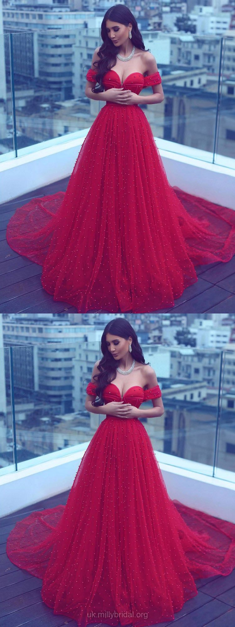 Long prom dresses red princesses prom dresses for teens