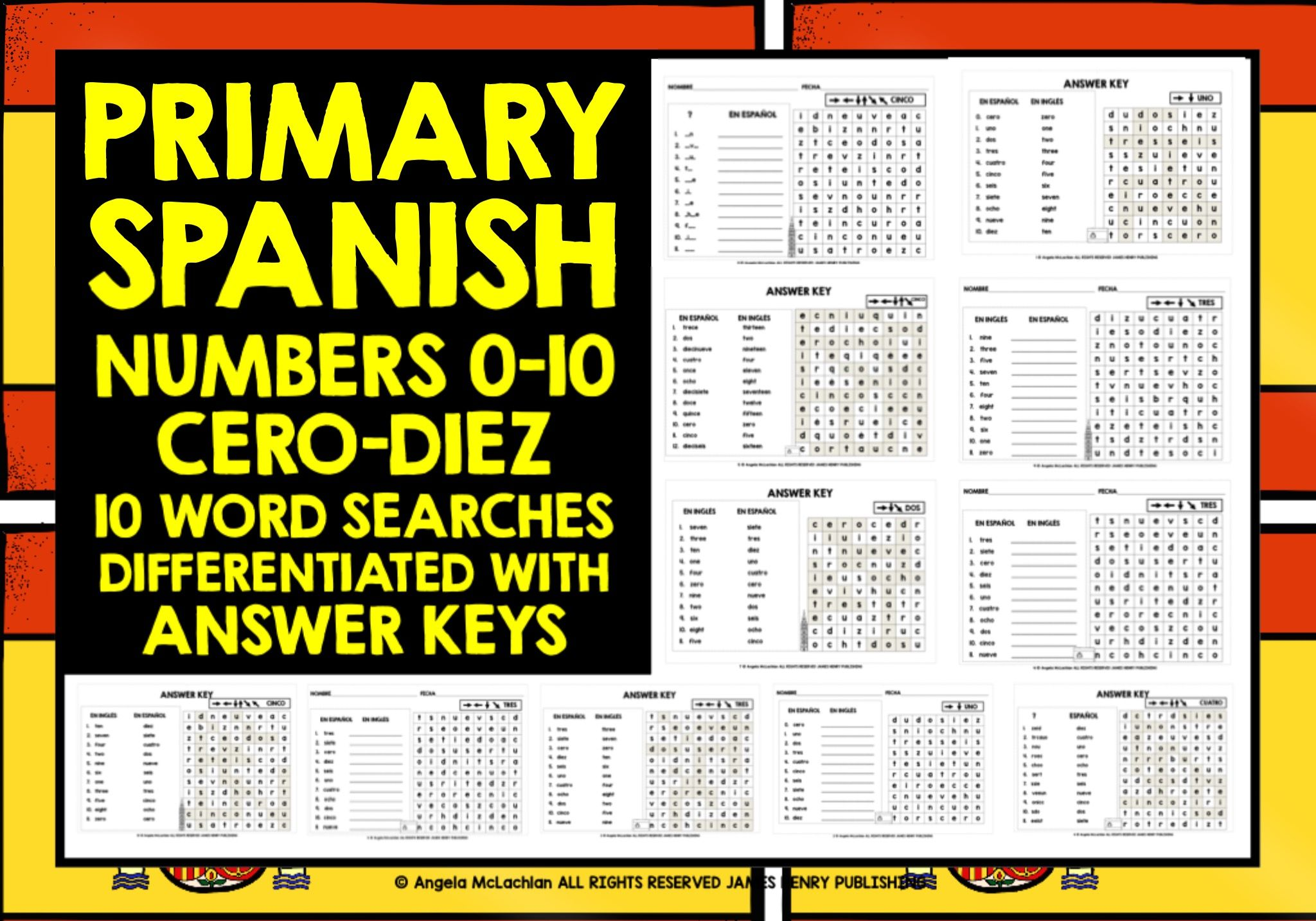 Primary Spanish Numbers 0 10 Word Searches