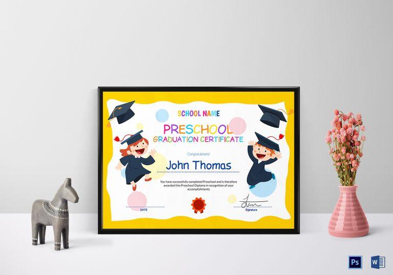 Preschool Graduation Certificate Template  Certificate Design