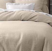 vintage-washed belgian linen duvet cover, restoration hardware-the