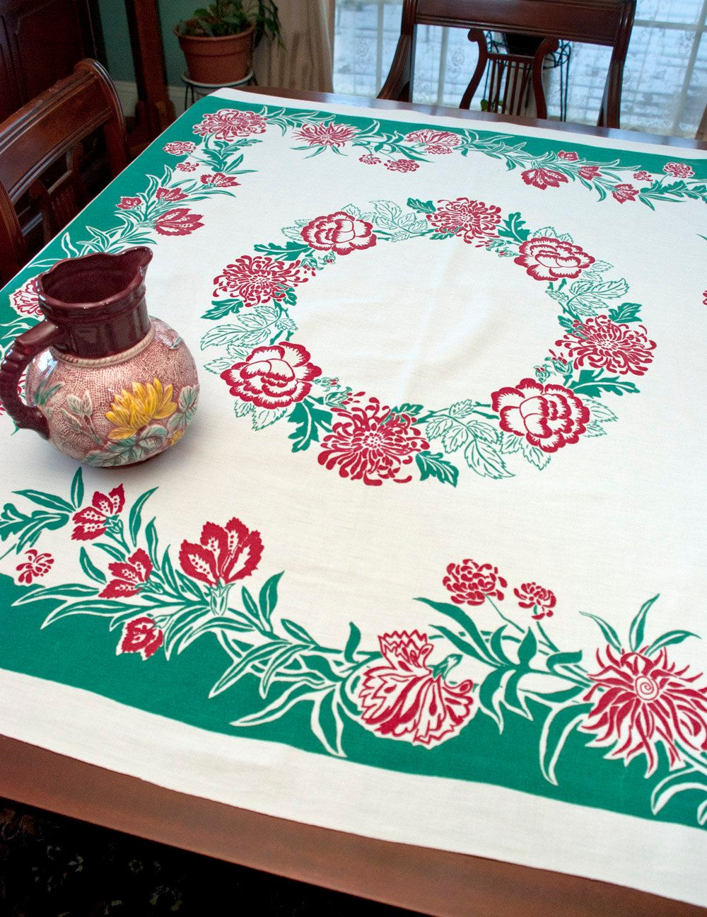 Vintage Tablecloth, 1950s Peonies & Roses, Green Border