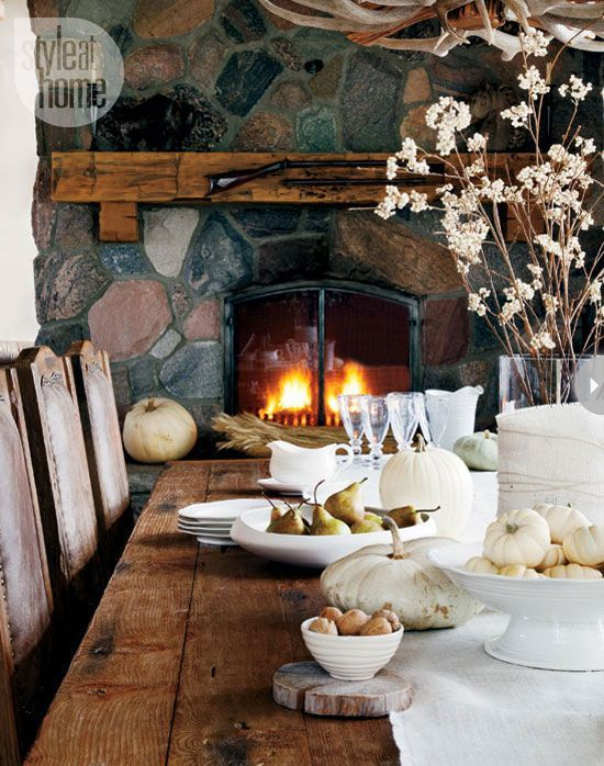 Autumn table by the fire