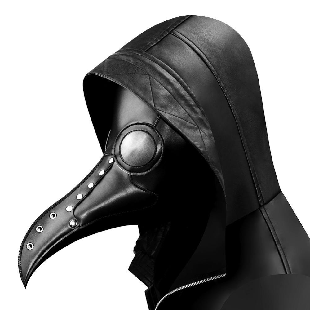 Black PU Plague Doctor Steampunk Bird Mask Cosplay Gothic Halloween Costumes