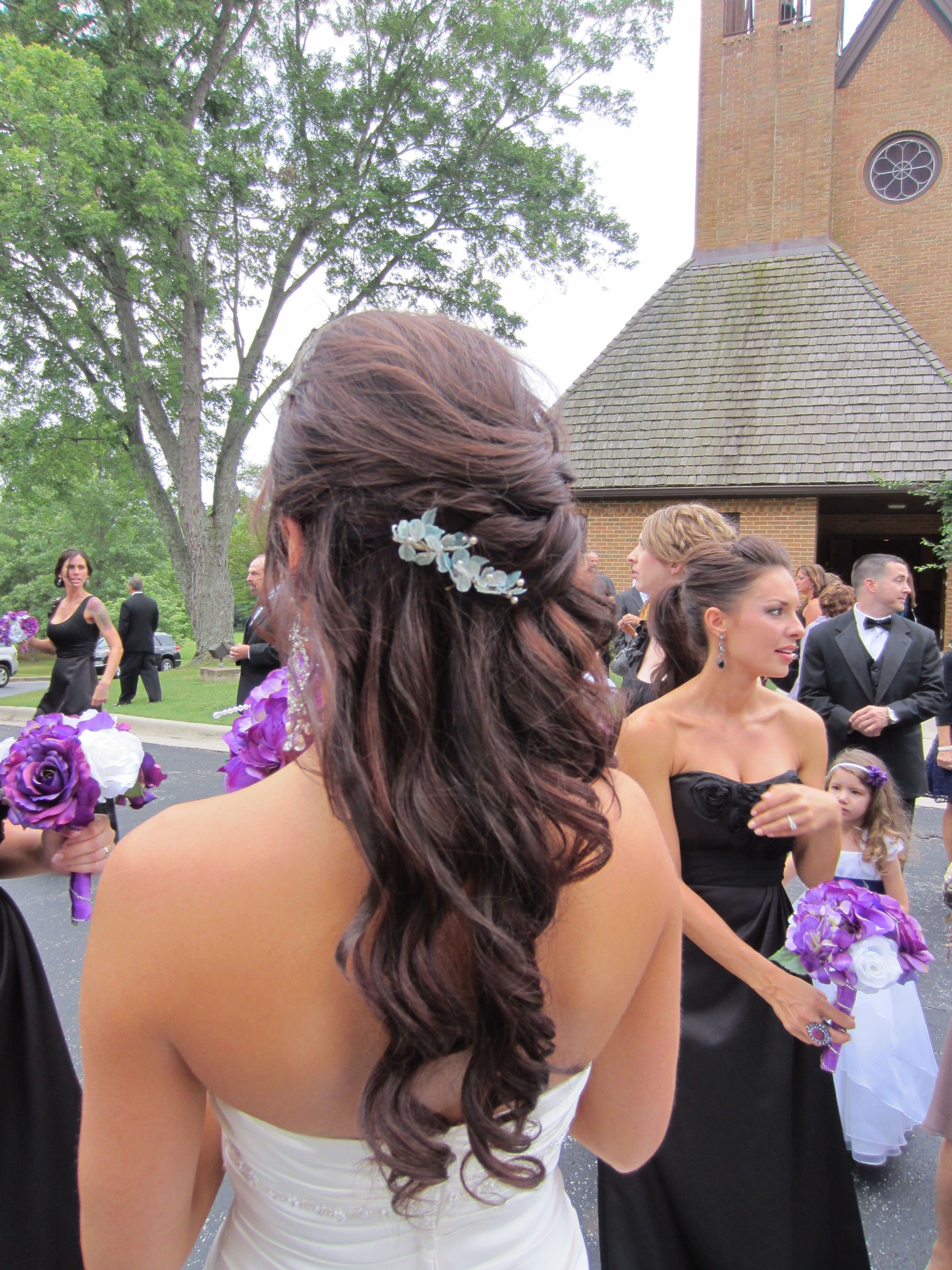 bridal half up, half down style, using extensions. ashley