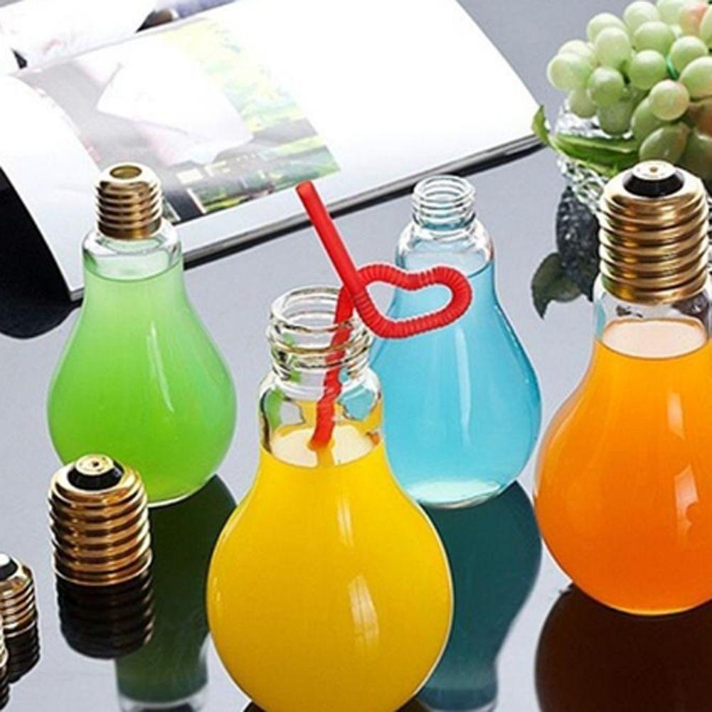 Personality Milk Cup Bulb Design Tea Drinks Juice Glass Bottle 300ml ... for Lamp Bottle Juice  268zmd