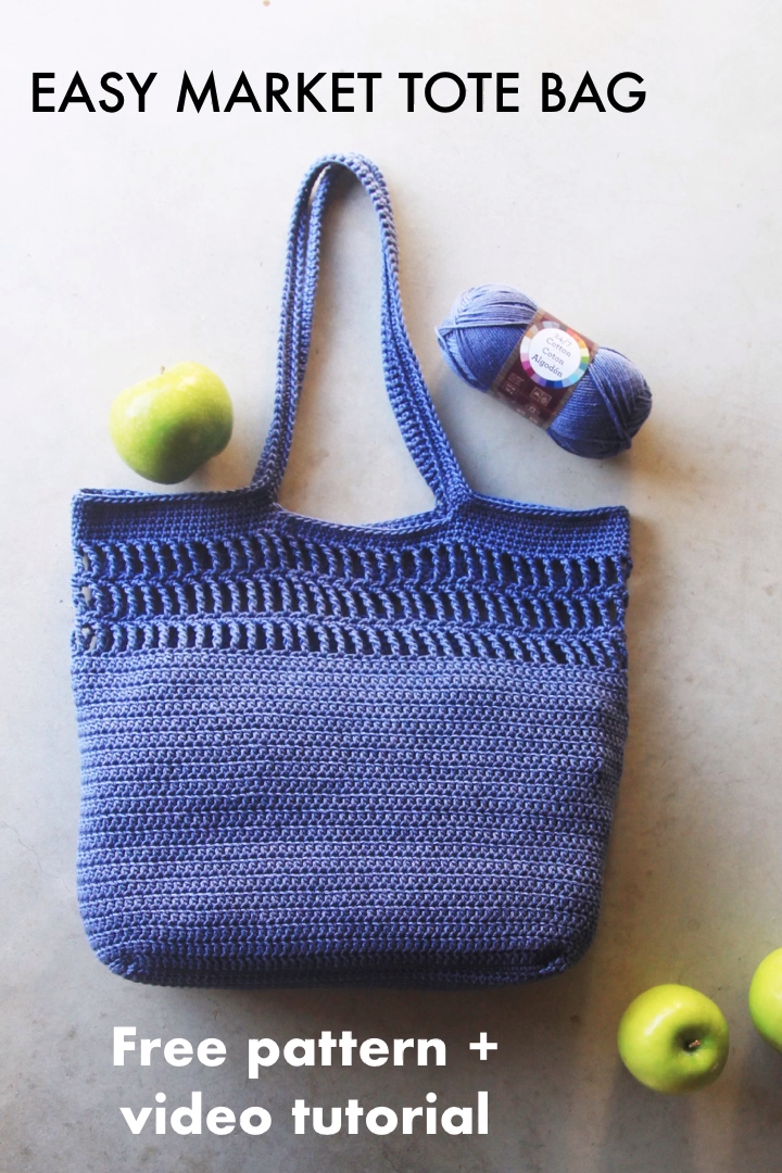 Photo of Free crochet pattern – Easy market tote bag + video tutorial