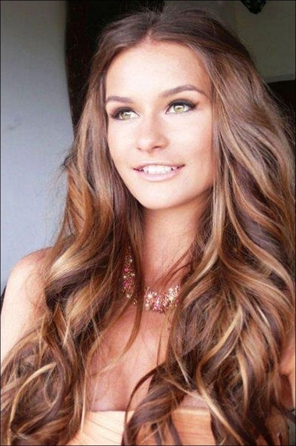 Dark Brown Hair Color With Highlights Charming Fair Skin With