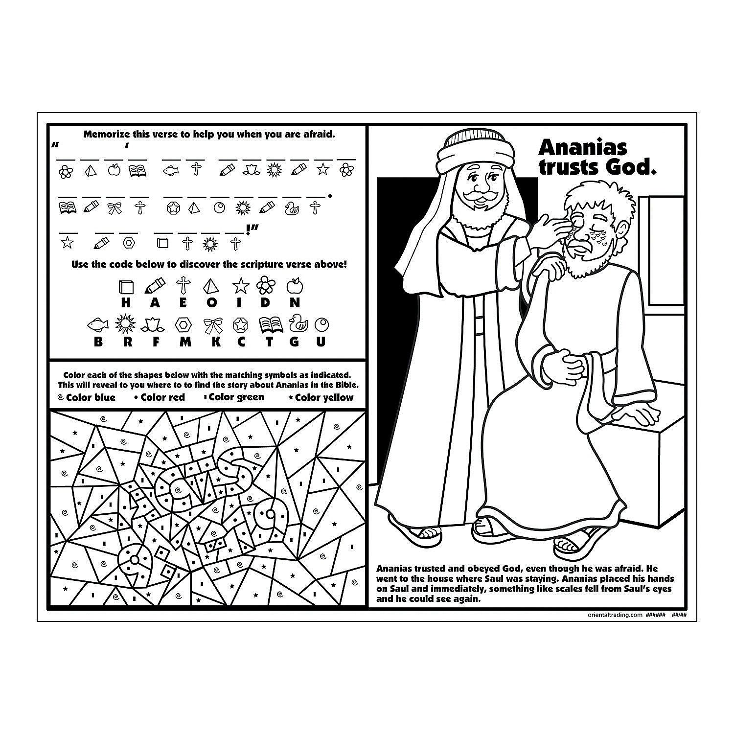 Ananias Helps Saul Activity Sheets Activity Books