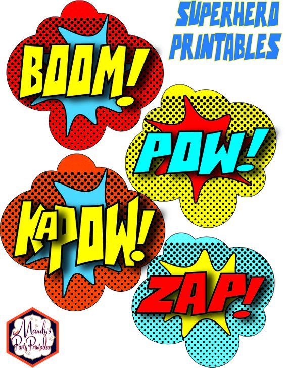 Superhero Signs Boom Pow Pj Masks Instant Download Pj Mask