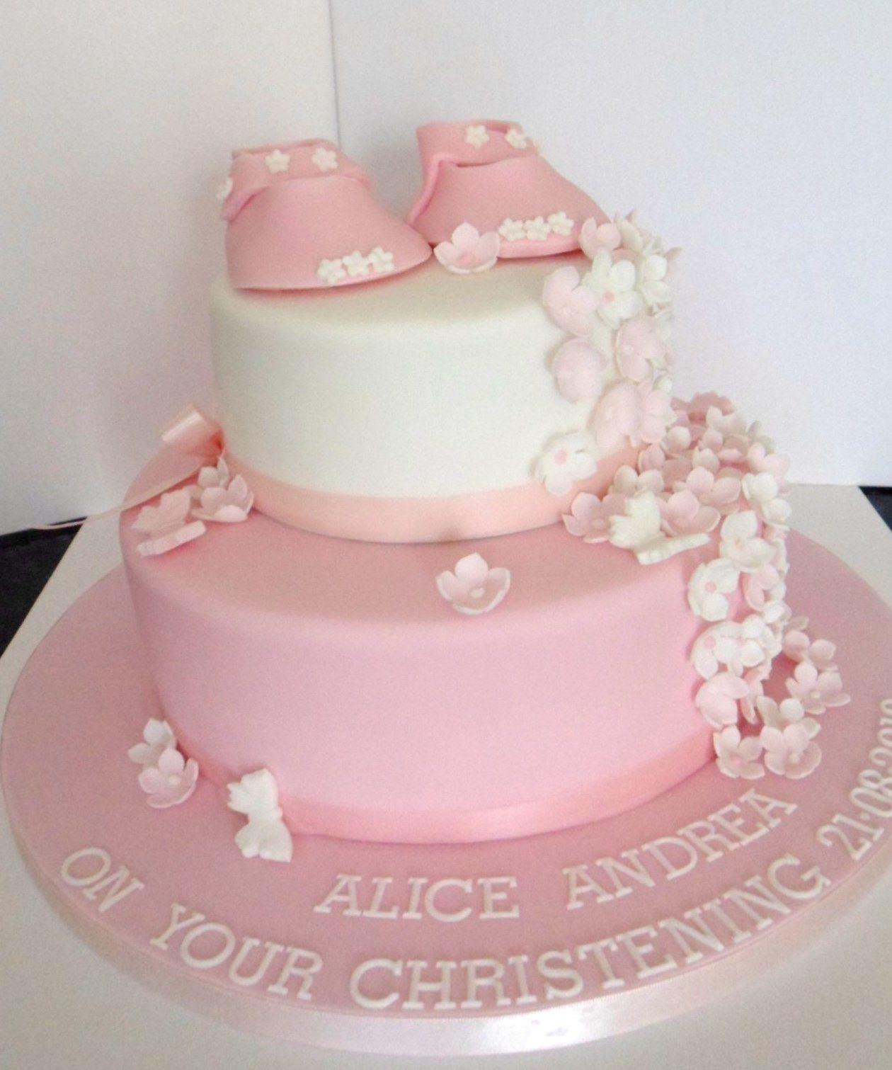Lovely 2 tier christening cake for a girl | Christening cakes boys ...