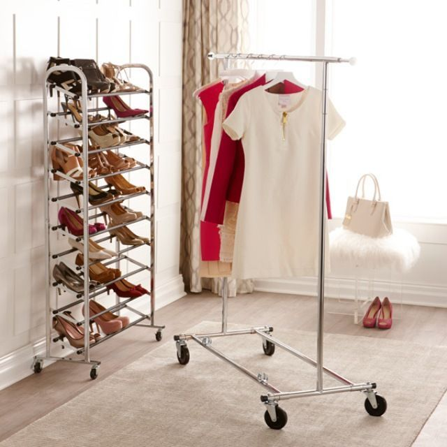 Chrome Metal Folding Commercial Clothes Rack Bedroom Wardrobe Wardrobe Design Closet Transformation