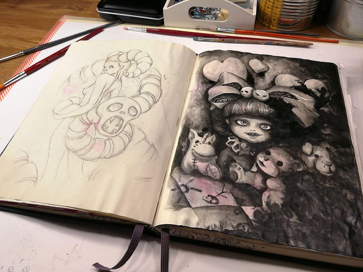 scary pages #scary #ink #акварель #aquarelle #drawing #art #artist #artwork #painting #illustration #watercolor #aquarela #gemälde #sketchbook #skizzenbuch #creative #picture #Kunst #watercolor