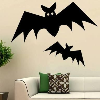 Superb Halloween Wall Decor Two Bats Wall Sticker Living Room Removable DIY Home  Decorative Vinyl Wall Decals