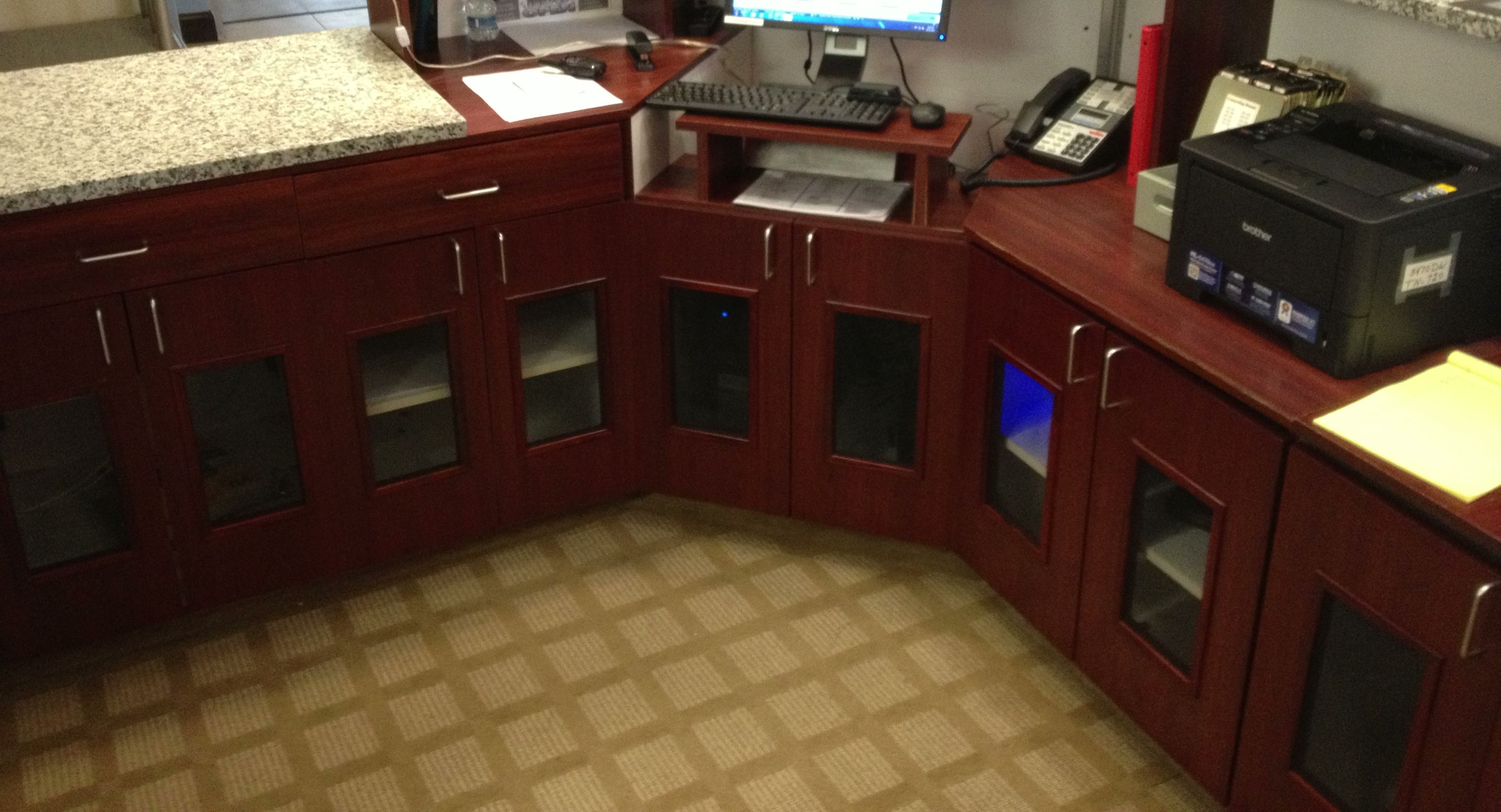 Vented Cabinet Doors for Hotel Reception Counter