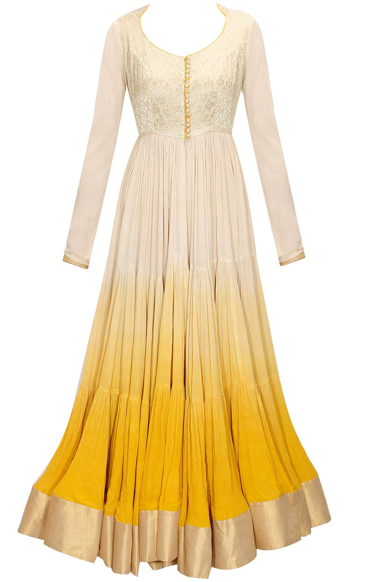 Yellow shaded anarkali suit by abhinav mishra shop at