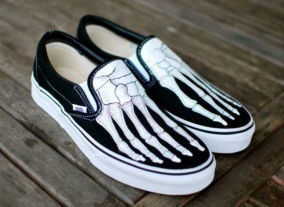 7ca459eee026cf Hand Painted Skeleton Boney Feet Slip On Vans shoes in 2019 ...
