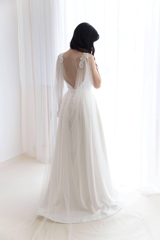 Cape veil with lace bridal cape veil wedding cape veil modern