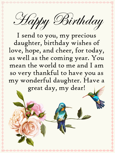 Send Free To my Precious Daughter Happy Birthday Card to Loved