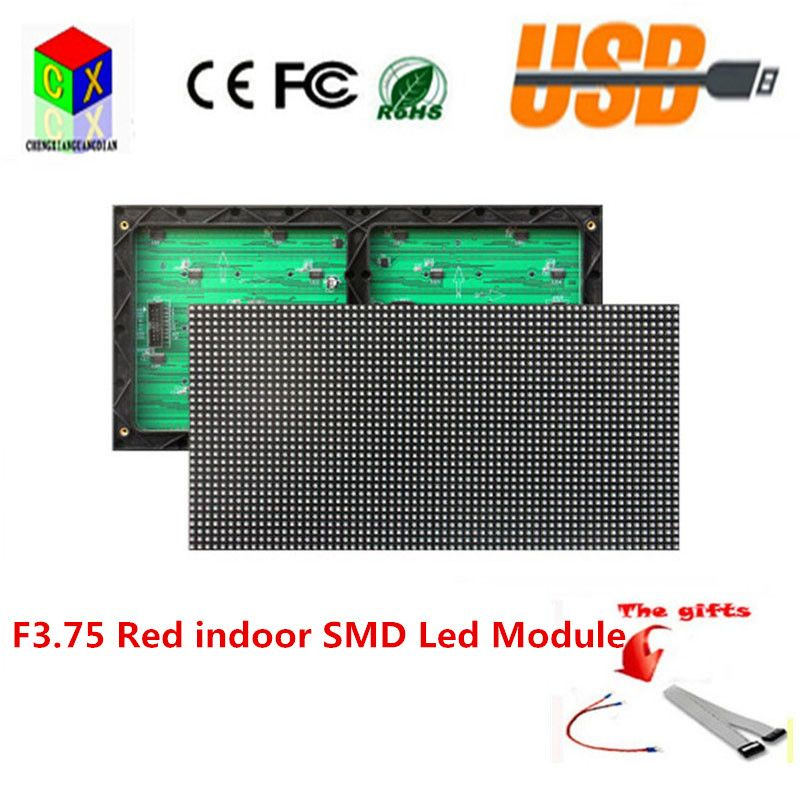 Red Indoor F3 75 P4 75 Led Display Module 304x152mm 64x32 Pixels