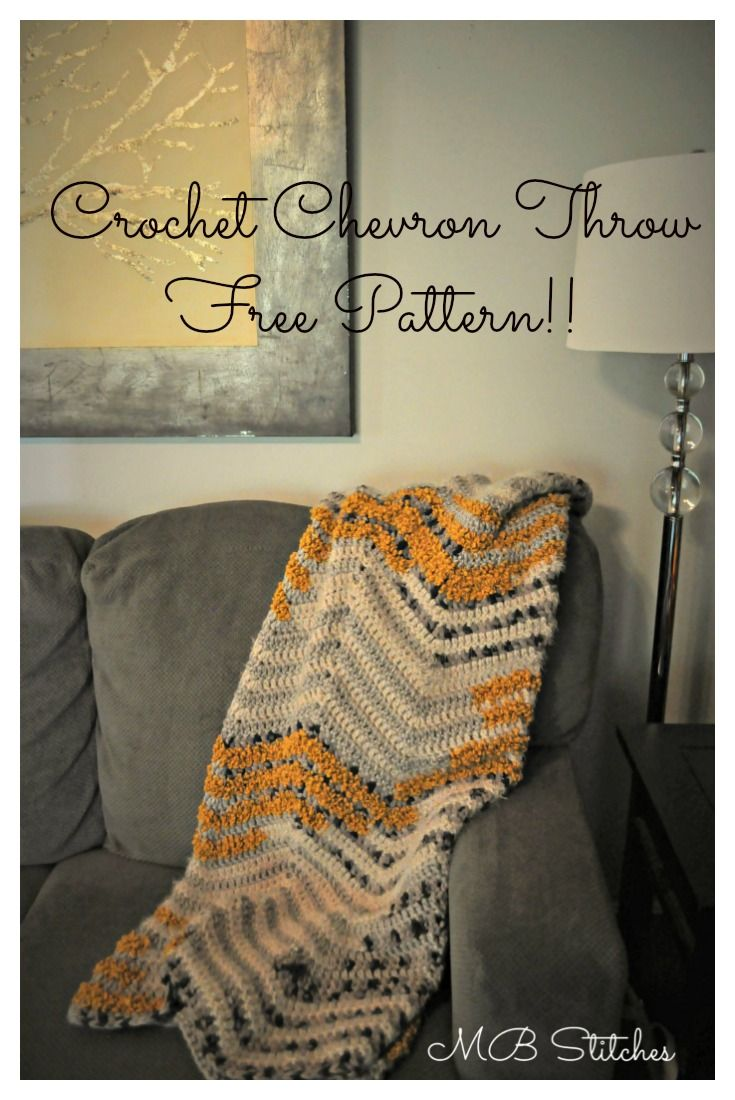 Chevron Blanket in Bernat Mix Home Yarn | Camas y Ganchillo