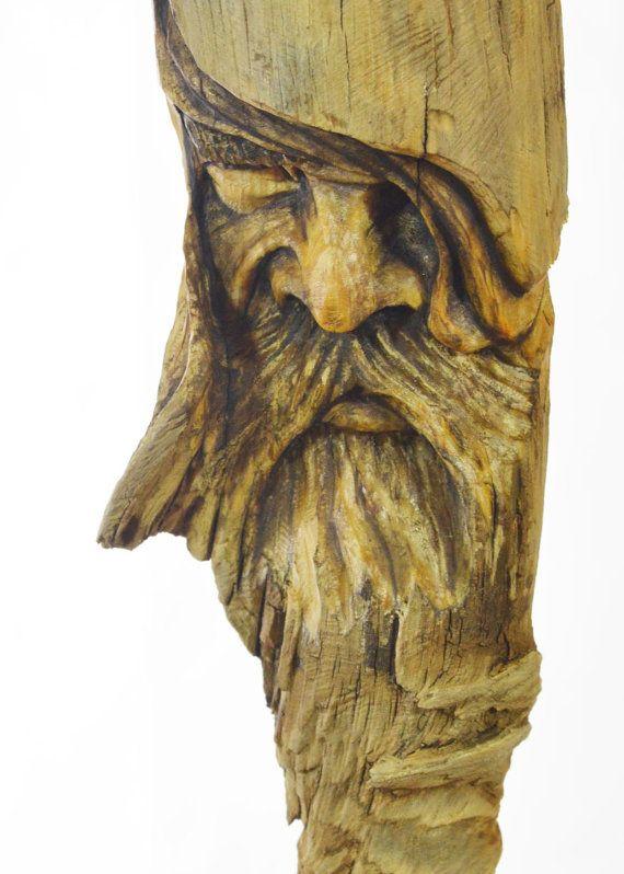 Wood carving spirit face sculpture handmade by