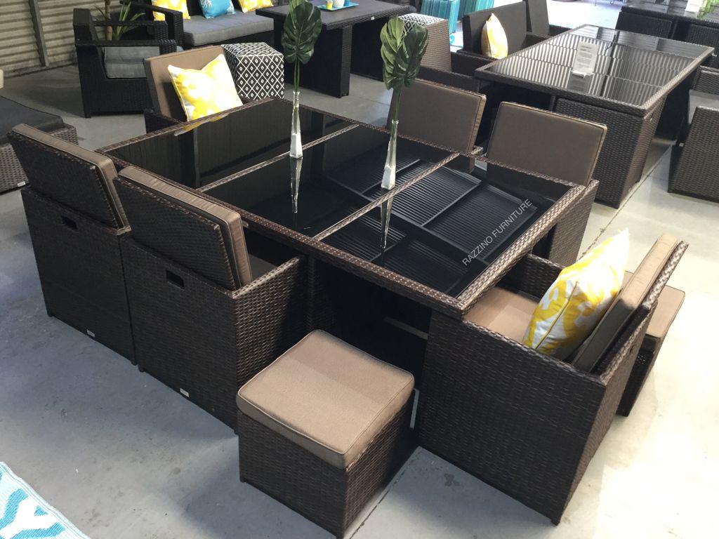 Outdoor Rattan Wicker Dining Set 11 Piece 10 Seat Cube