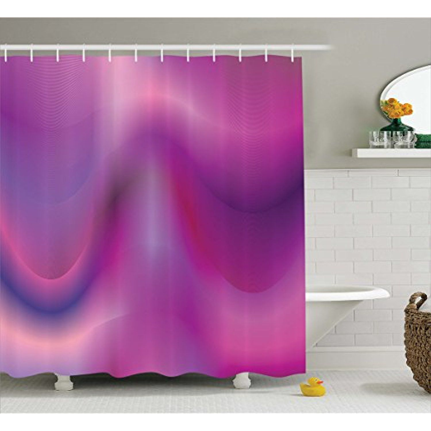 Magenta Shower Curtain By Lunarable Abstract Artificial Blurred Radiant Wavy Liquid Like Shades In