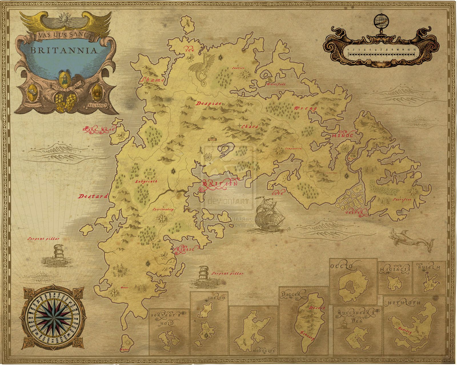 Nice Antique Look Ancient Ultima Online Britannia Map By