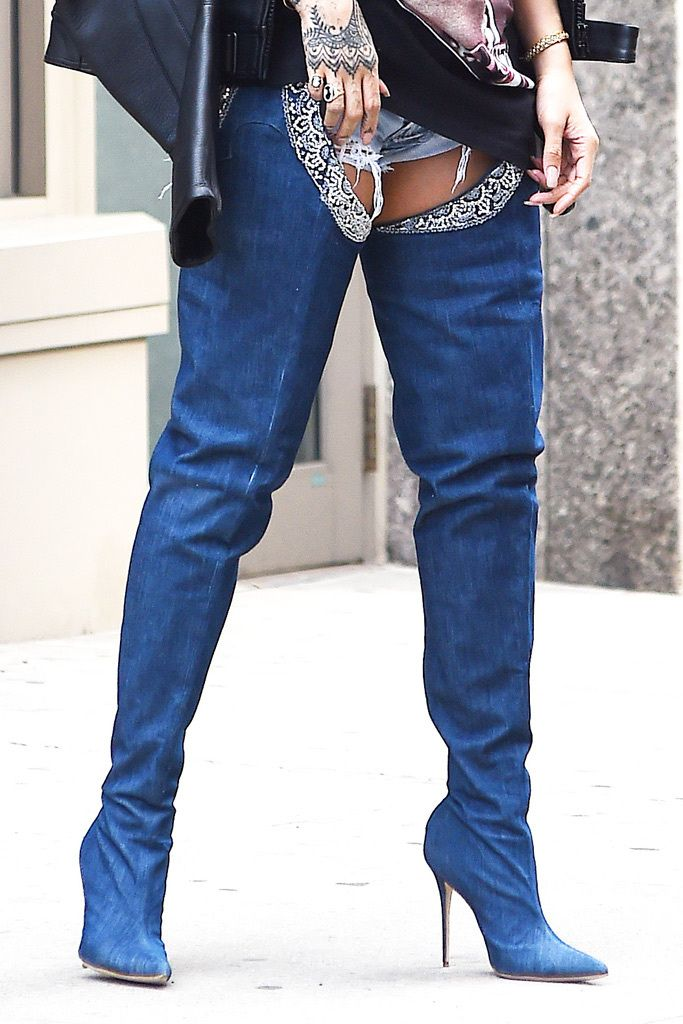 28866ac3808 Rihanna Debuts Denim Boots From Manolo Blahnik Collaboration