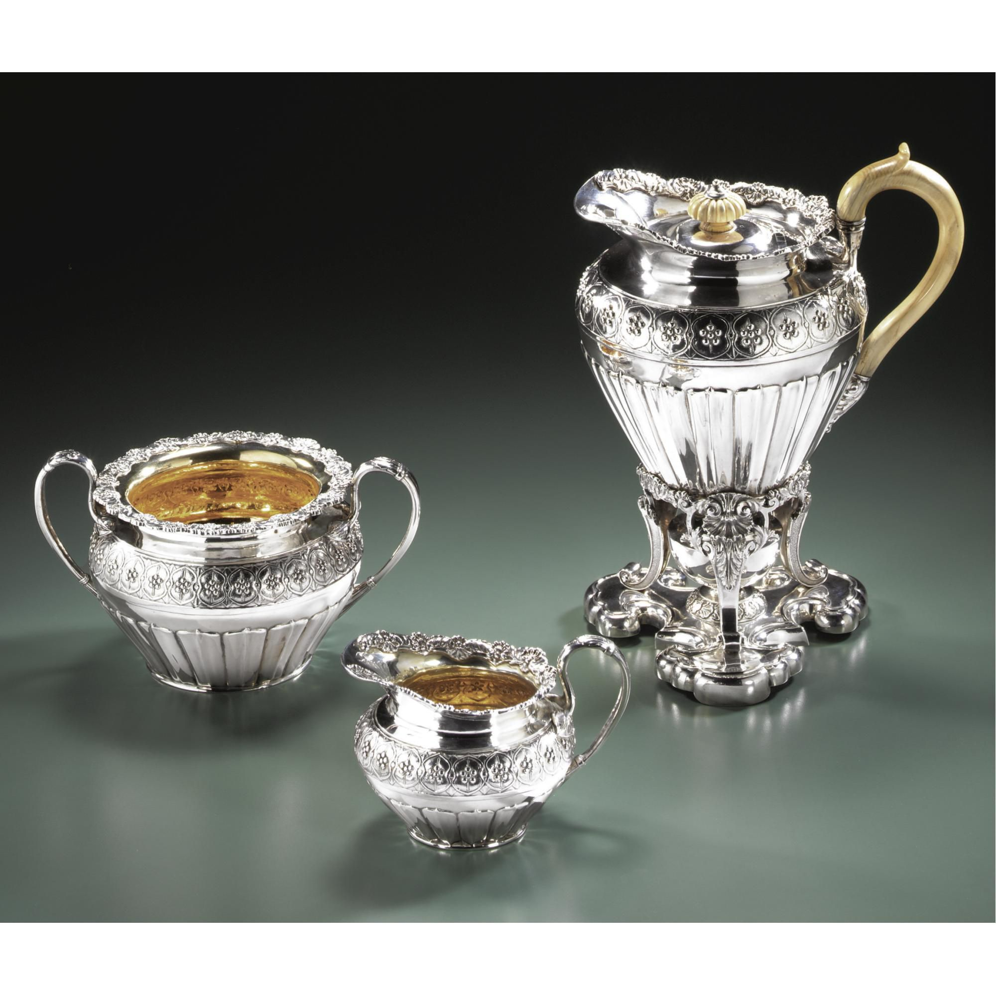 A Regency silver four-piece tea set, Philip Rundell, London, 1820/21 - Sotheby's