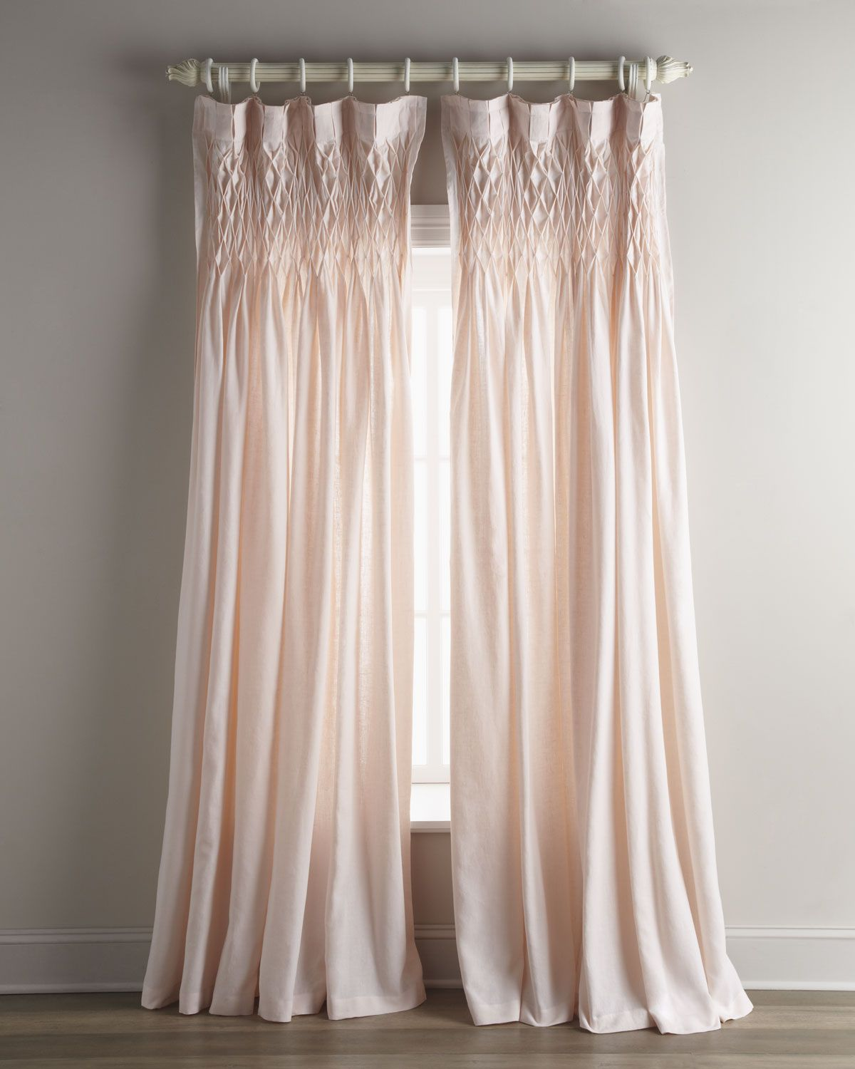 Light pink ruffled curtains - Pom Pom At Home Each 42 W X 96 L Smocked Linen Curtain