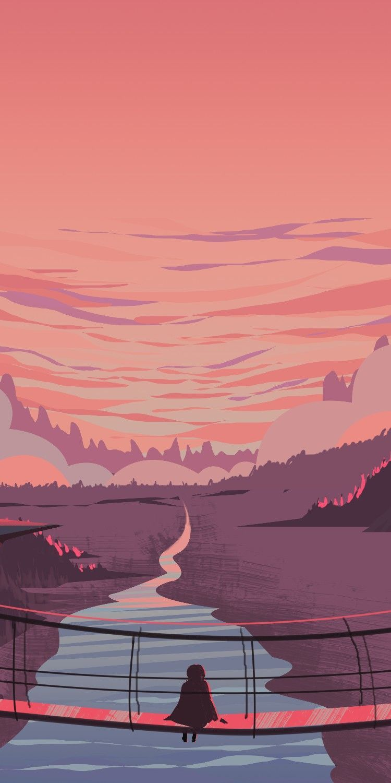Pink Landscape Digital Art In 2020 Landscape Wallpaper Art Wallpaper Art Background