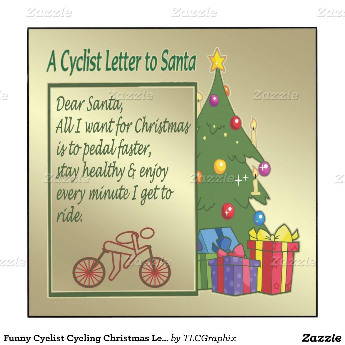 Funny Cyclist Cycling Christmas Letter To Santa Wood Wall Art ...