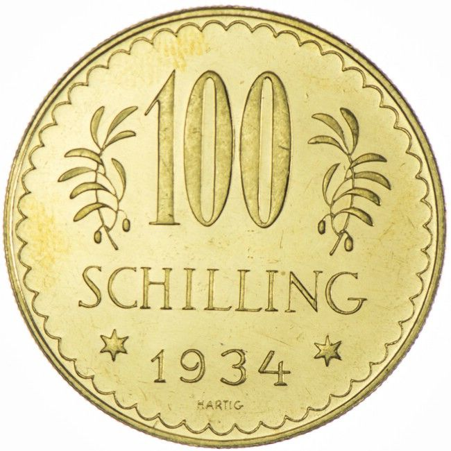 100 Schilling 1934 Kabinettstuck Selten Nur 9 383 Exemplare Gepragt Worden Gold And Silver Coins Gold Coins Coins