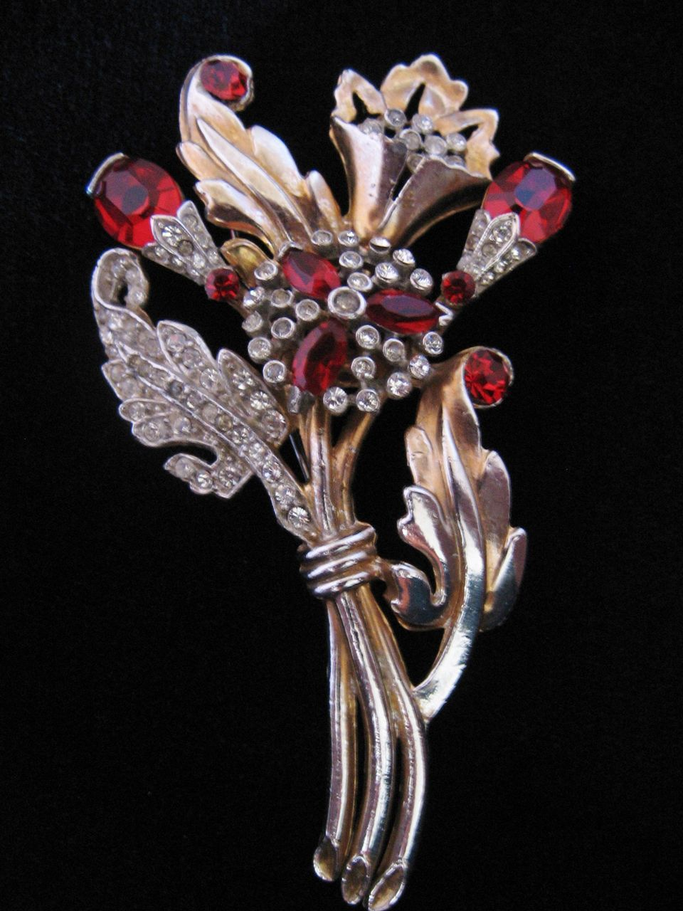 Vintage Large 1940's Floral Red and Clear Rhinestone Pin-Brooch
