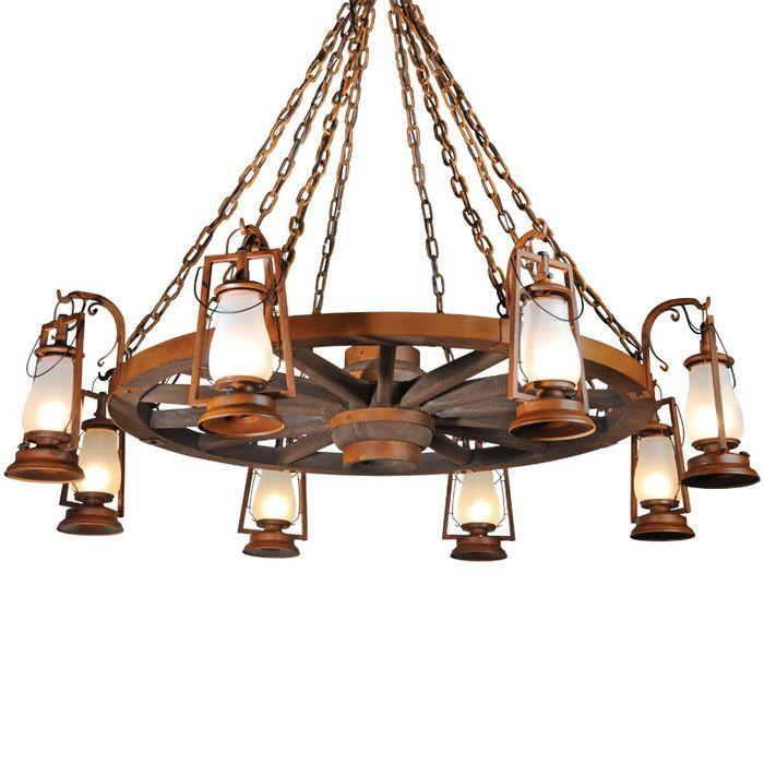 Krieg 8 Light Shaded Wagon Wheel Chandelier Wagon Wheel Chandelier Chandelier Shades Lantern Chandelier